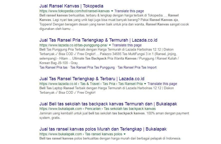 tujuan pencarian keyword intent