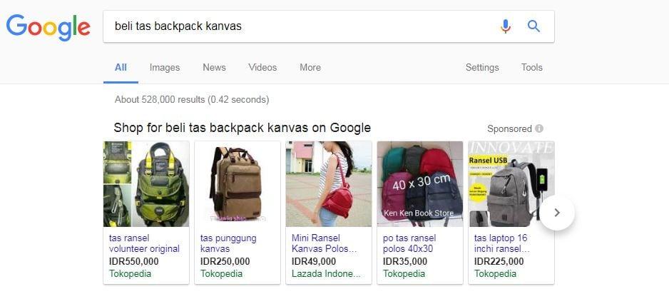 tujuan pencarian atau keyword intent