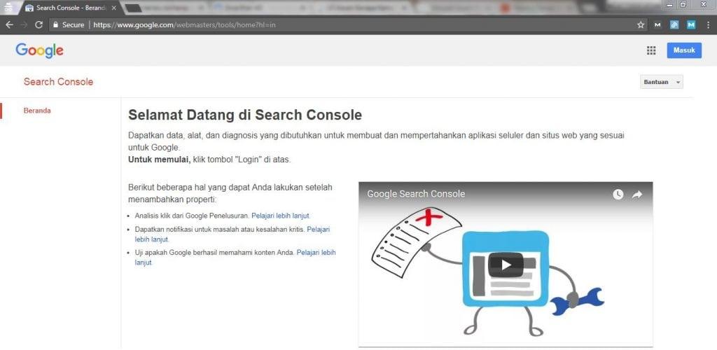 tentang google search console atau webmaster tools